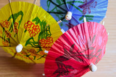 Multi colored cocktail umbrellas Royalty Free Stock Photography