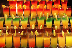 Multi-colored cocktails at the bar. Colorful bright fresh modern cocktails in the bar the night of Egypt stock photography