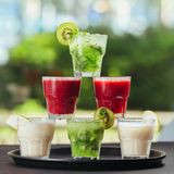 Cocktails form tower, red ,green and white color royalty free stock image
