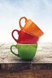 Multi Colored Coffee or Tea Cups Royalty Free Stock Photo