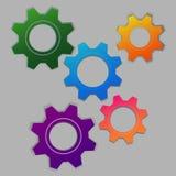 5 multi-colored cogs vector illustration