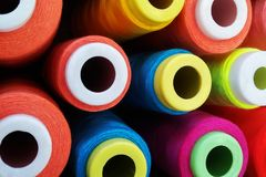 Multi-colored coil threads, royalty free stock photos