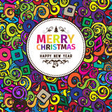 Multi colored colorful Christmas card and New Year greetings vector illustration. With design elements , color splash, pop up style for wallpaper, wallpaper Stock Image