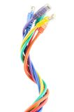 Multi colored computer cables Royalty Free Stock Photos