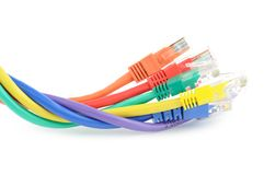 Multi colored computer cables Stock Image