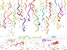 Multi colored confettis  on white background. 3D illustration Royalty Free Stock Photos