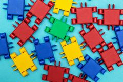 Multi-colored a constructor details on blue background stock images