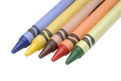 Multi colored crayons. Image of Multi colored crayons on white background Stock Photo