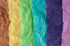 Multi-colored crumpled real vivid paper sheets texture background. Crumpled multi-colored real colorful paper sheets texture backdrop royalty free stock photography