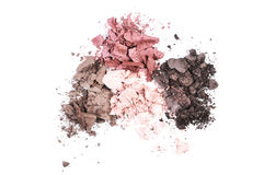 Multi colored crushed eyeshadows isolated on white background. Mix eyeshadow crushed sample isolated on white Stock Photography