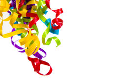 Multi-colored curly ribbons on white royalty free stock photos