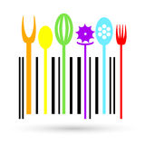 Multi colored Cutlery icon in a shape of barcode. Stock Image