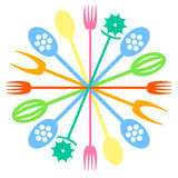 Multi colored Cutlery icon. Vector Royalty Free Stock Image