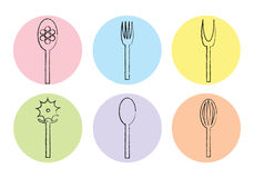 Multi colored Cutlery icon. Vector Stock Photography