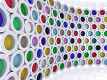 Multi-colored cylinders. Room with multi-colored cylinders 3d illlustration Royalty Free Stock Photography