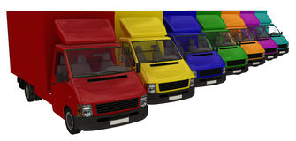 Multi-colored delivery vans. Stock Photography