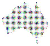 Multicolored Dot Australia Map. Multi colored dotted Australia map. Vector abstraction of Australia map combined of rhombus dots mosaic. Abstract geographic Stock Images