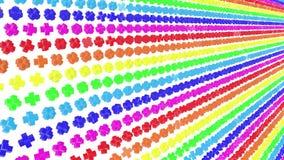 Multi-colored driedimensionele cijfers van kubussen vliegen langzaam op een wit 3d geef terug stock illustratie