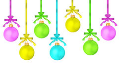 The multi-colored dull christmas balls hanging Royalty Free Stock Images