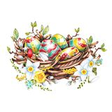 Multi-colored Easter eggs in a basket with flowers, hand drawing royalty free illustration