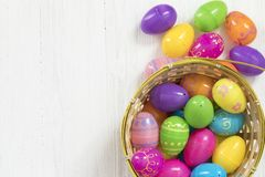 Easter eggs on white wooden background Stock Photos