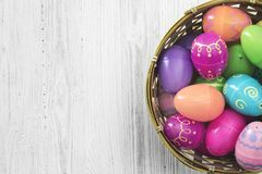 Easter eggs on white wooden background Royalty Free Stock Photography