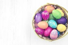 Easter eggs on white wooden background Royalty Free Stock Image