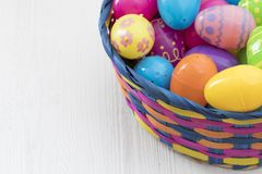 Easter eggs on white wooden background Stock Images