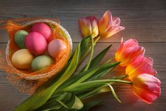 Multi-colored Easter eggs in a beautiful basket and a bouquet of tulips royalty free stock photo