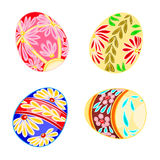 Multi-colored Easter eggs. Decorated Easter eggs set floral pattern pattern vector illustration Stock Photos