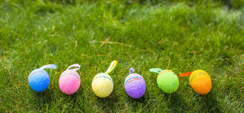 Multi-colored Easter eggs on green grass Royalty Free Stock Images