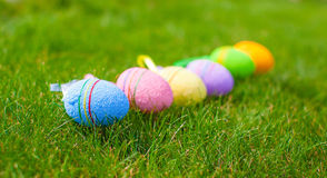 Multi-colored Easter eggs on green grass Stock Image