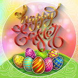 Multi colored easter eggs on a green lawn with the hand drawn  Stock Image