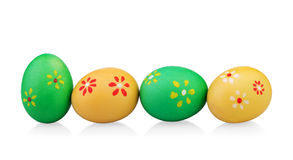 Multi colored easter eggs with handmade flowers Royalty Free Stock Images