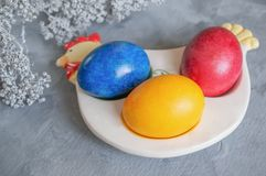 Multi-colored Easter eggs lie on a white plate in the shape of a chicken next to paint for coloring stock photography