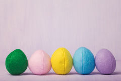 Multi-colored Easter eggs made of felt Royalty Free Stock Image
