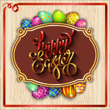 Multi colored easter eggs on a wood background with the hand dra. Multi colored easter eggs on a wood background with the handdrawn lettering Happy Easter vector illustration