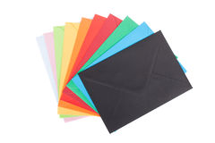 Multi colored envelopes, isolated on white Royalty Free Stock Photos