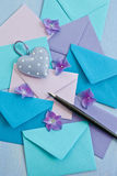 Multi colored envelopes and letters Royalty Free Stock Photography