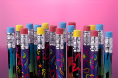 Multi colored erasers on pencils. Royalty Free Stock Photos