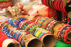 Multi-colored ethnic bracelets. Esoteric jewelery Stock Images