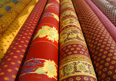 Multi colored fabrics Royalty Free Stock Images