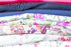 Multi colored fabrics samples Royalty Free Stock Photography