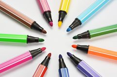 Multi colored felt tip pens on white background. Multi colored felt tip pens isolated on white royalty free stock image