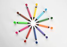 Multi colored felt tip pens on white background. Multi colored felt tip pens isolated on white stock photos