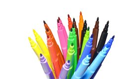 Multi-colored felt-tip pens on the white isolated background. Selective focus Stock Photography