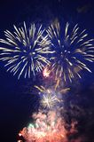 Multi-colored fires of festive fireworks. Royalty Free Stock Photos