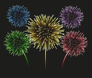 Fireworks set on a black background. 5 multi-colored fireworks on a black background. Set, isolated objects, vector illustration Royalty Free Stock Photos