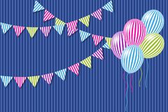 Multi-colored flags and balloons. Multi-colored flags and helium balloons. Vector illustration EPS10 Stock Photos