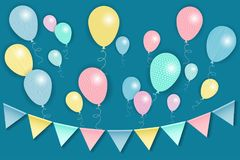 Multi-colored flags and balloons. Design for a card, congratulations, invitations Stock Photos